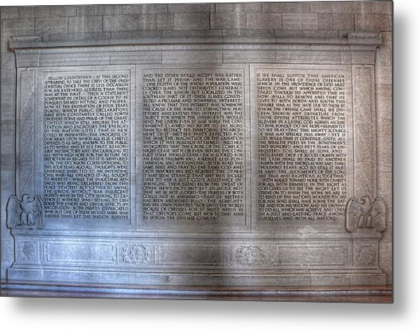 Metal Print featuring the photograph Abraham Lincoln - Second Inaugural Address In The Lincoln Memorial Washington D.c. by Marianna Mills