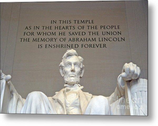 Abraham Lincoln Statue - 2 Metal Print