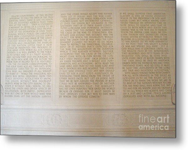 Abraham Lincoln's Second Inaugural Address Metal Print