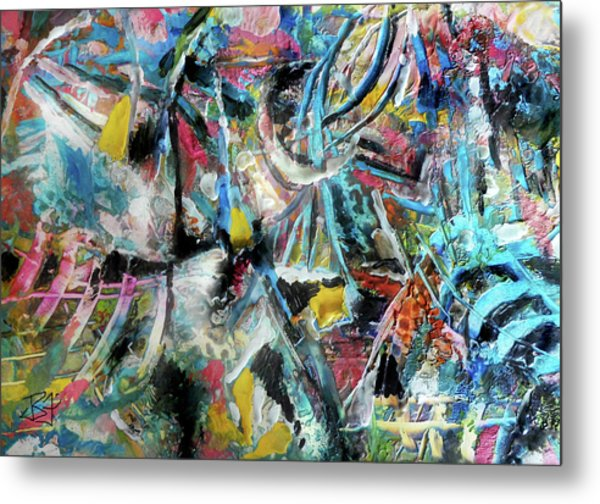 Abstract 301 - Encaustic Metal Print