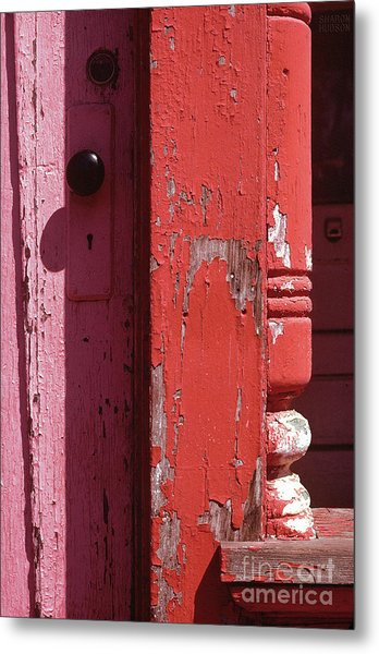abstract architecture - Red Door Metal Print