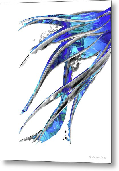Abstract Art Blue And White - Flowing 5 - Sharon Cummings Metal Print