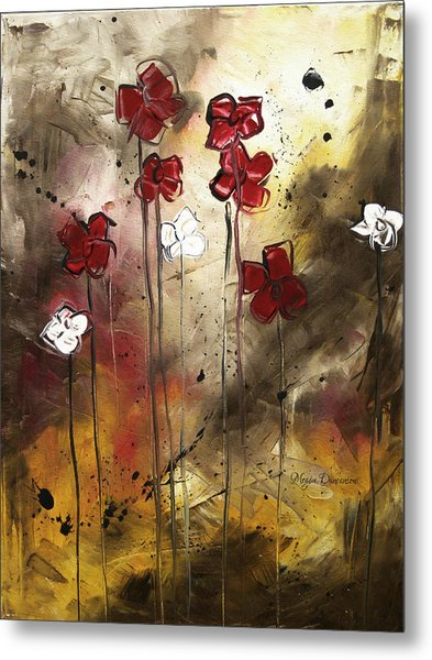 Abstract Art Original Flower Painting Floral Arrangement By Madart Metal Print