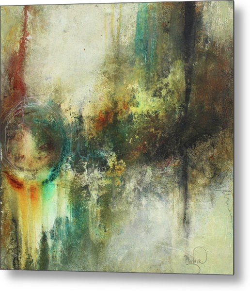 Abstract Art With Blue Green And Warm Tones Metal Print