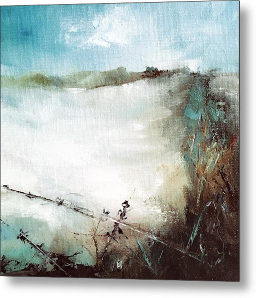 Abstract Barbwire Pasture Landscape Metal Print