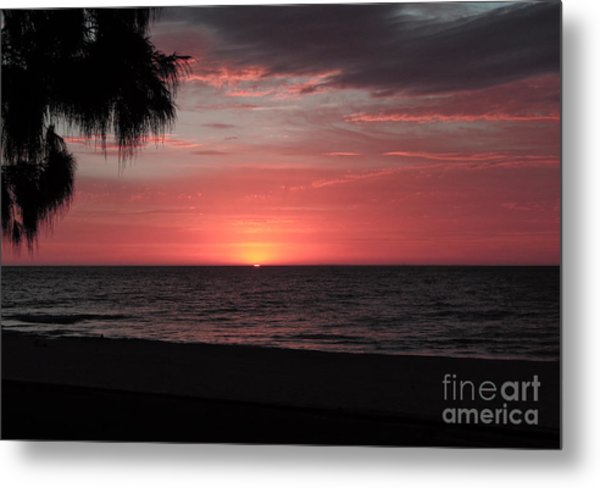Abstract Beach Palm Tree Sunset Metal Print