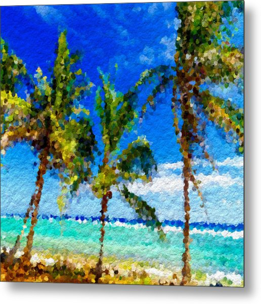 Abstract Beach Palmettos Metal Print