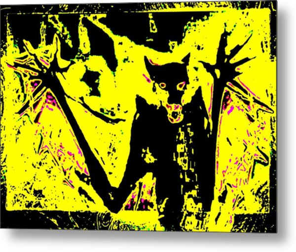 Metal Print featuring the painting Black On Yellow Dog-man by Hartmut Jager