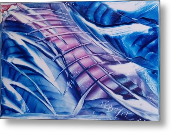 Abstract Blue With Pink Centre Metal Print