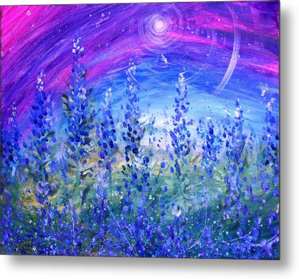 Abstract Bluebonnets Metal Print