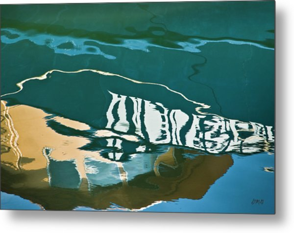 Abstract Boat Reflection Metal Print
