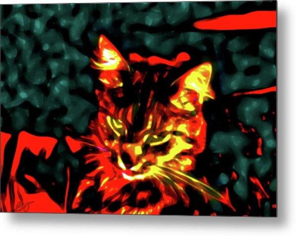 Abstract Cat Metal Print