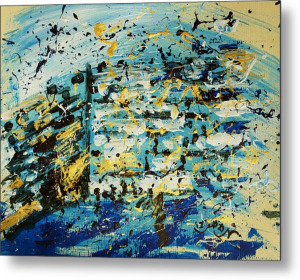 Abstract Contemporary Western Wall Kotel Prayer Painting With Splatters In Blue Gold Black Yellow Metal Print