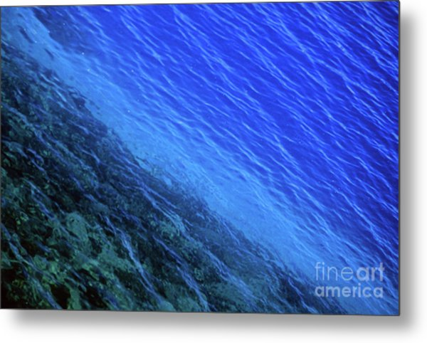 Abstract Crater Lake Blue Water Metal Print