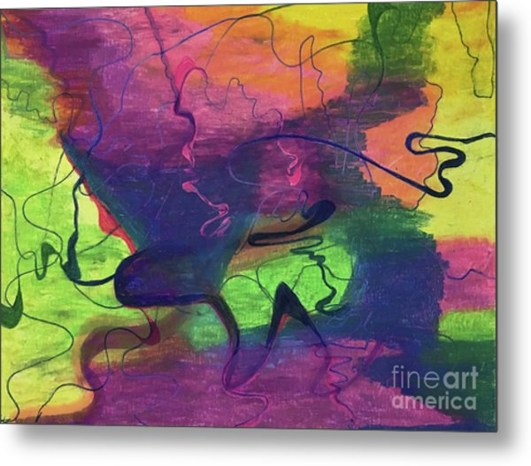 Colorful Abstract Cloud Swirling Lines Metal Print