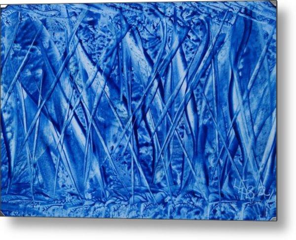 Abstract Encaustic Blues Metal Print
