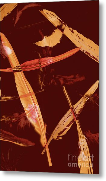Abstract Feathers Falling On Brown Background Metal Print