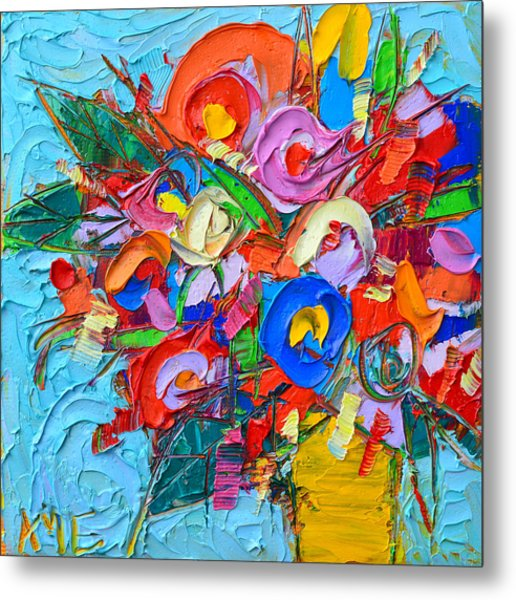 Abstract Flowers Floral Miniature Modern Impressionist Palette Knife Oil Painting Ana Maria Edulescu Metal Print