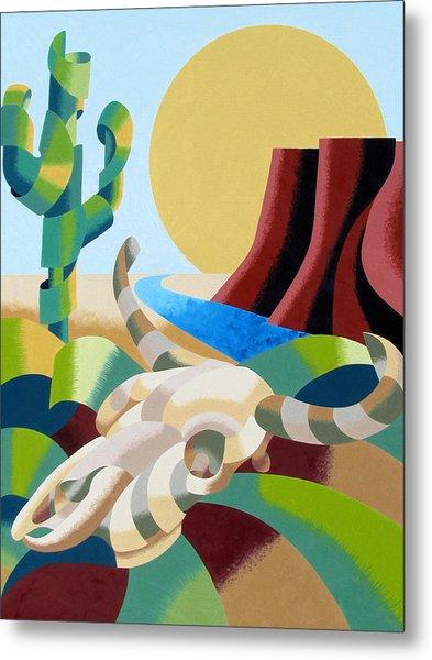 Abstract Futurist Soutwestern Desert Landscape Oil Painting  Metal Print