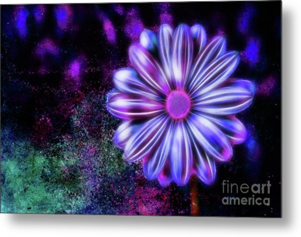 Abstract Glowing Purple And Blue Flower Metal Print