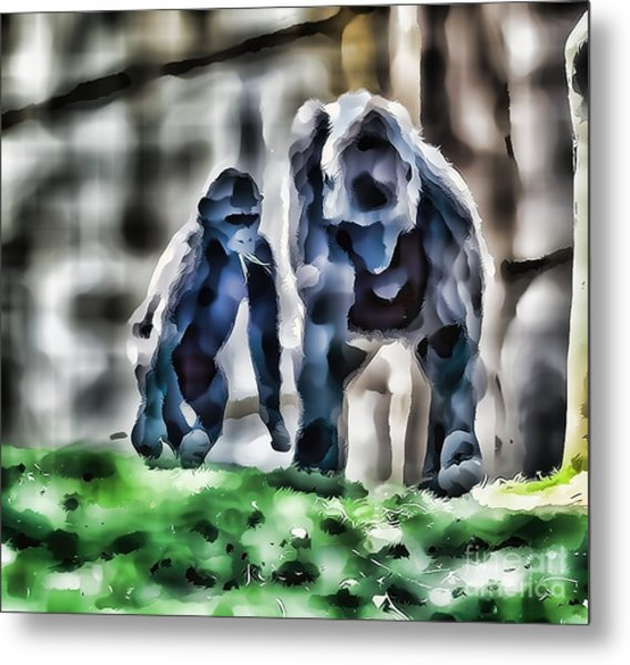 Abstract Gorilla Family Metal Print