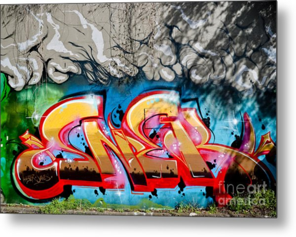 Abstract Graffiti Fragment On The Textured Wall Metal Print