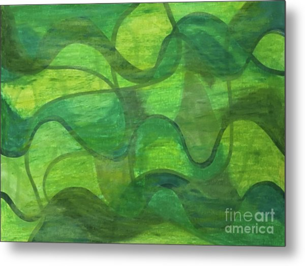 Abstract Green Wave Connection Metal Print