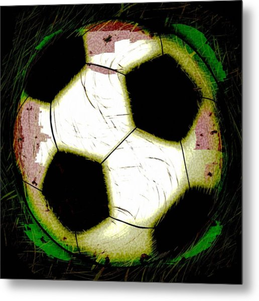 Abstract Grunge Soccer Ball Metal Print