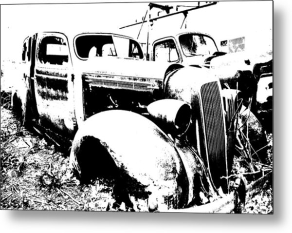 Abstract High Contrast Old Car Metal Print by MIke Loudemilk