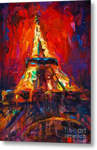 Abstract Impressionistic Eiffel Tower Painting Metal Print