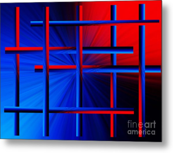 Abstract In Red/blue 3 Metal Print