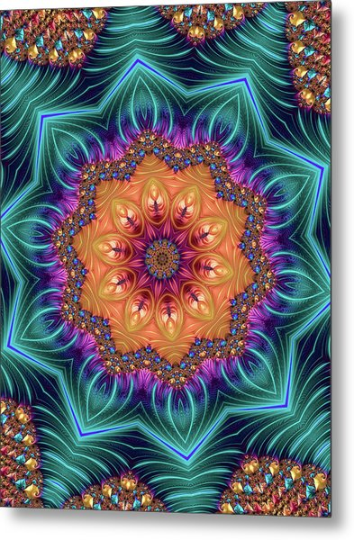 Metal Print featuring the digital art Abstract Kaleidoscope Art With Wonderful Colors by Matthias Hauser