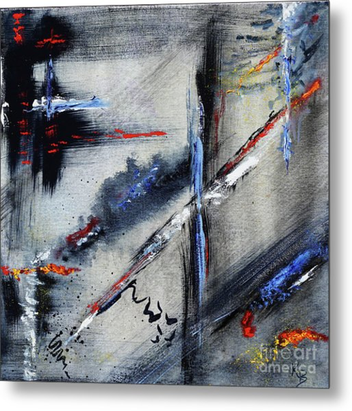 Metal Print featuring the painting Abstract by Karen Fleschler