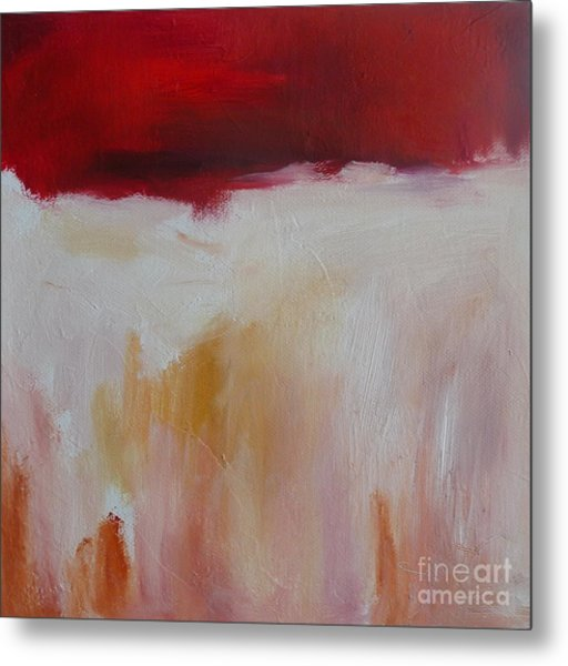 Abstract Landscape In Red Metal Print by Xx X