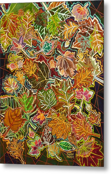 Abstract Leaves Metal Print by Karen Merry