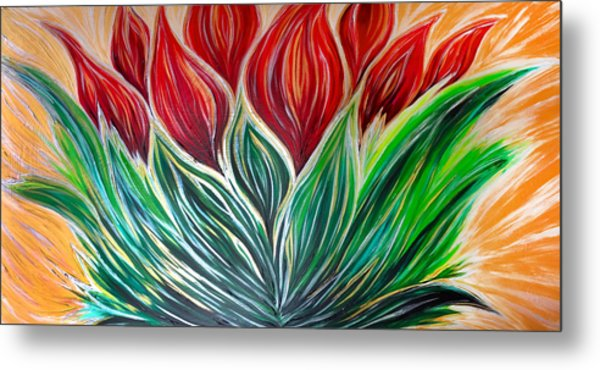 Abstract Lotus Metal Print