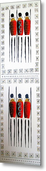Abstract Masai Warriors Metal Print
