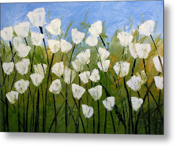 Abstract Modern Floral Art White Tulips By Amy Giacomelli Metal Print