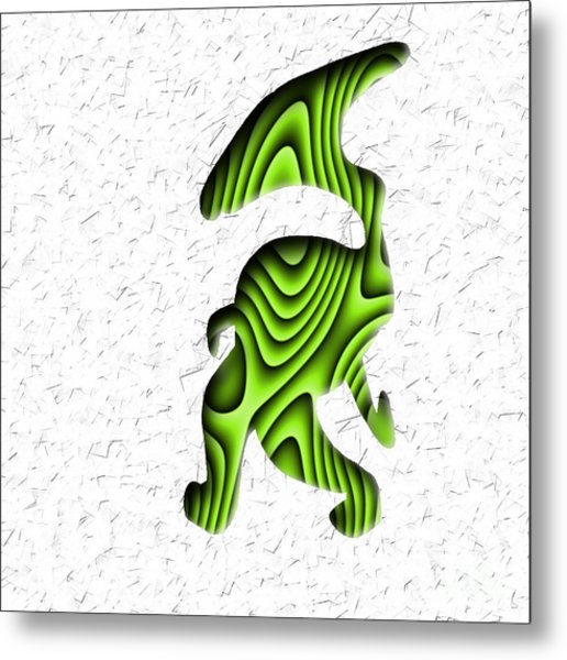 Abstract Monster Cut-out Series - Green Stroll Metal Print