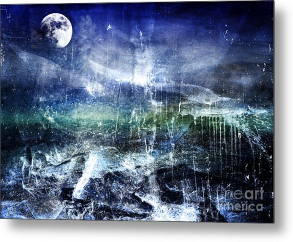 Abstract Moonlit Seascape Painting 36a Metal Print