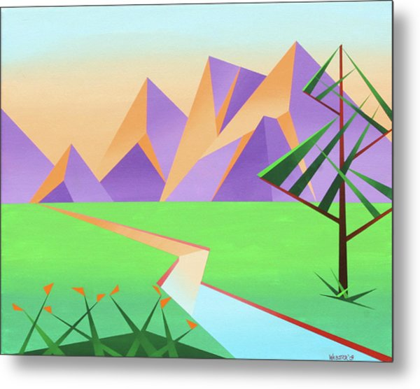 Abstract Mountain River At Sunset With Flowers Painting Metal Print by Mark Webster