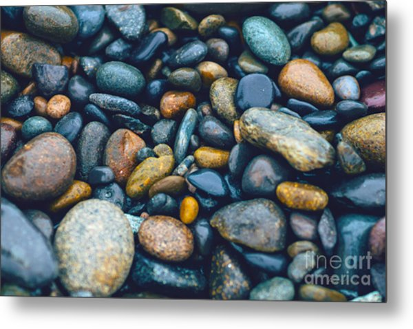 Abstract Nature Tropical Beach Pebbles 923 Blue Metal Print