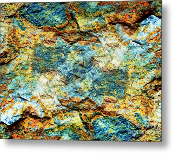 Abstract Nature Tropical Beach Rock Blue Yellow And Orange Macro Photo 472 Metal Print