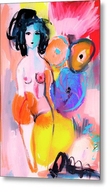 Abstract Nude With Flowers Metal Print