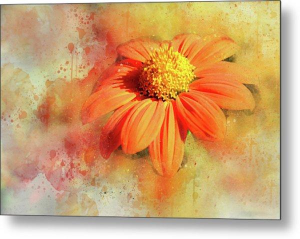 Abstract Orange Flower Metal Print