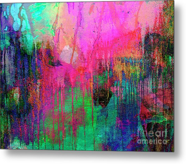 Abstract Painting 621 Pink Green Orange Blue Metal Print