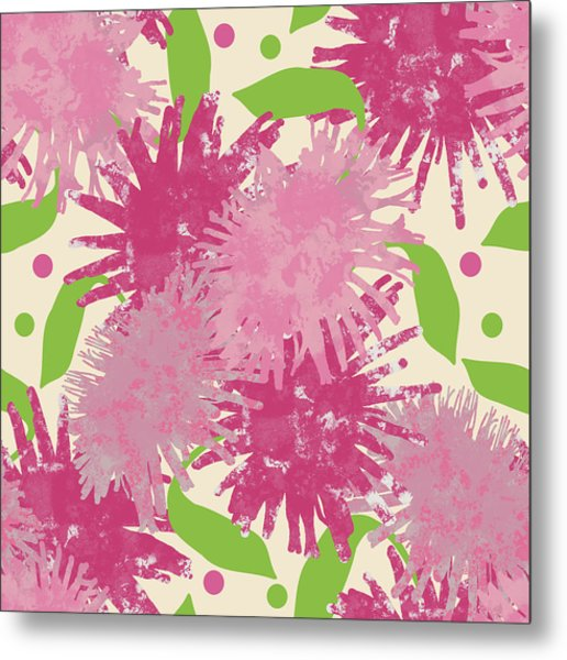 Abstract Pink Puffs Metal Print