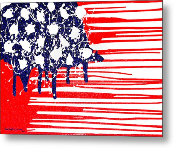 Abstract Plastic Wrapped American Flag Metal Print