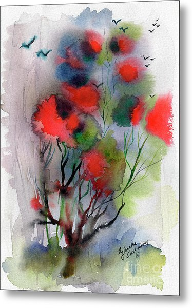 Abstract Poinciana Tree Watercolor Metal Print