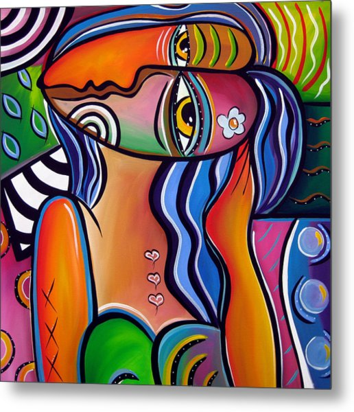 Abstract Pop Art Original Painting Shabby Chic Metal Print
